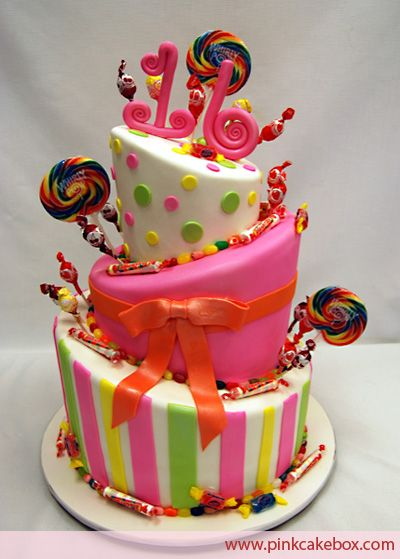 colorido. pirulito  Candy Themed Sweet 16 Cake