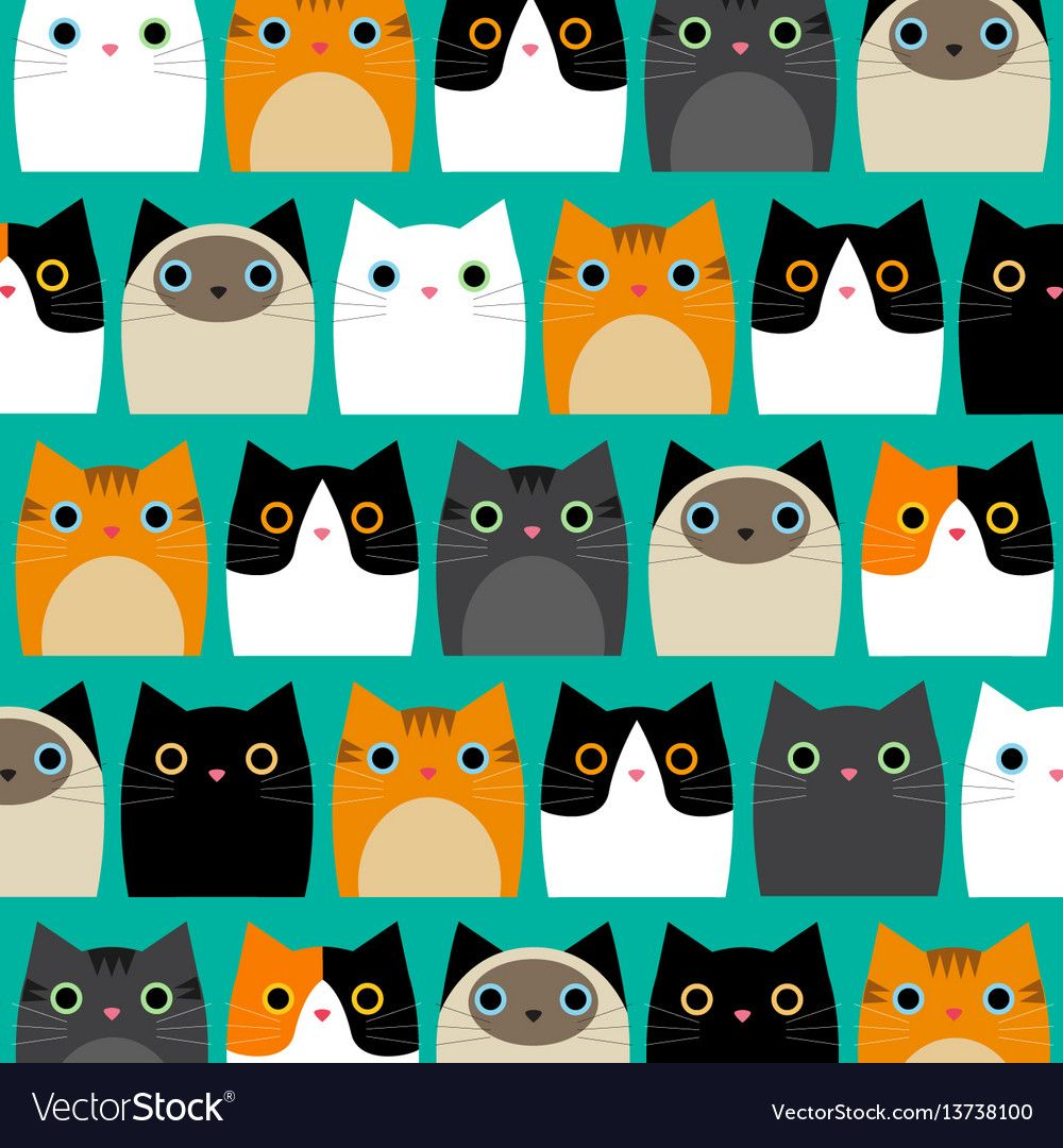 Pattern With Cute Cats Vector Image On Cute Cat Wallpaper Cat