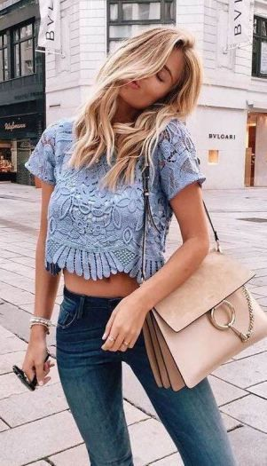Summer Outfits Light Blue Lace Crop Top Skinny Jeans Crop