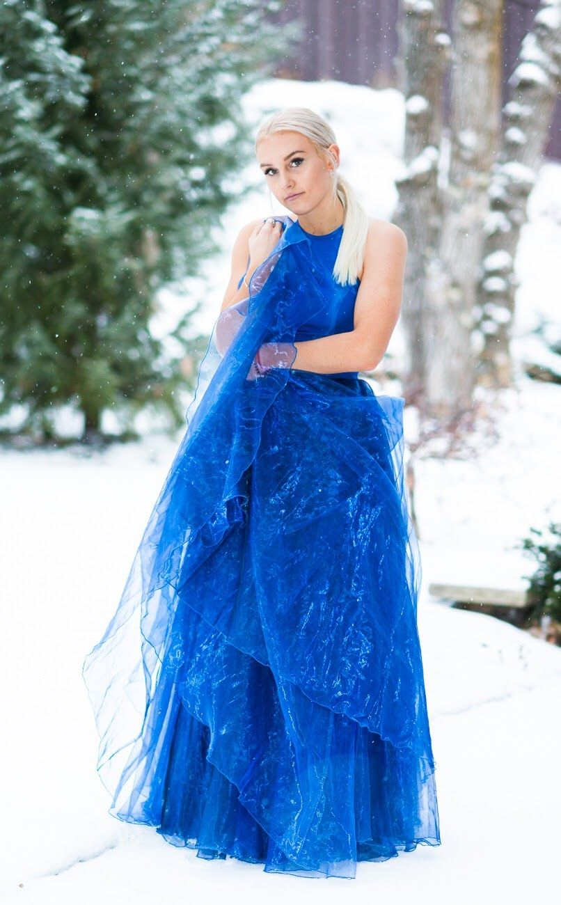 Sherri Hill Royal Blue Flowy Dress in the snow winter holiday christmas  photoshoot Ypsilon Dresses Prom Pageant Evening Gown Special Occasion  Homecoming ... 4ce7c7ec3b8b
