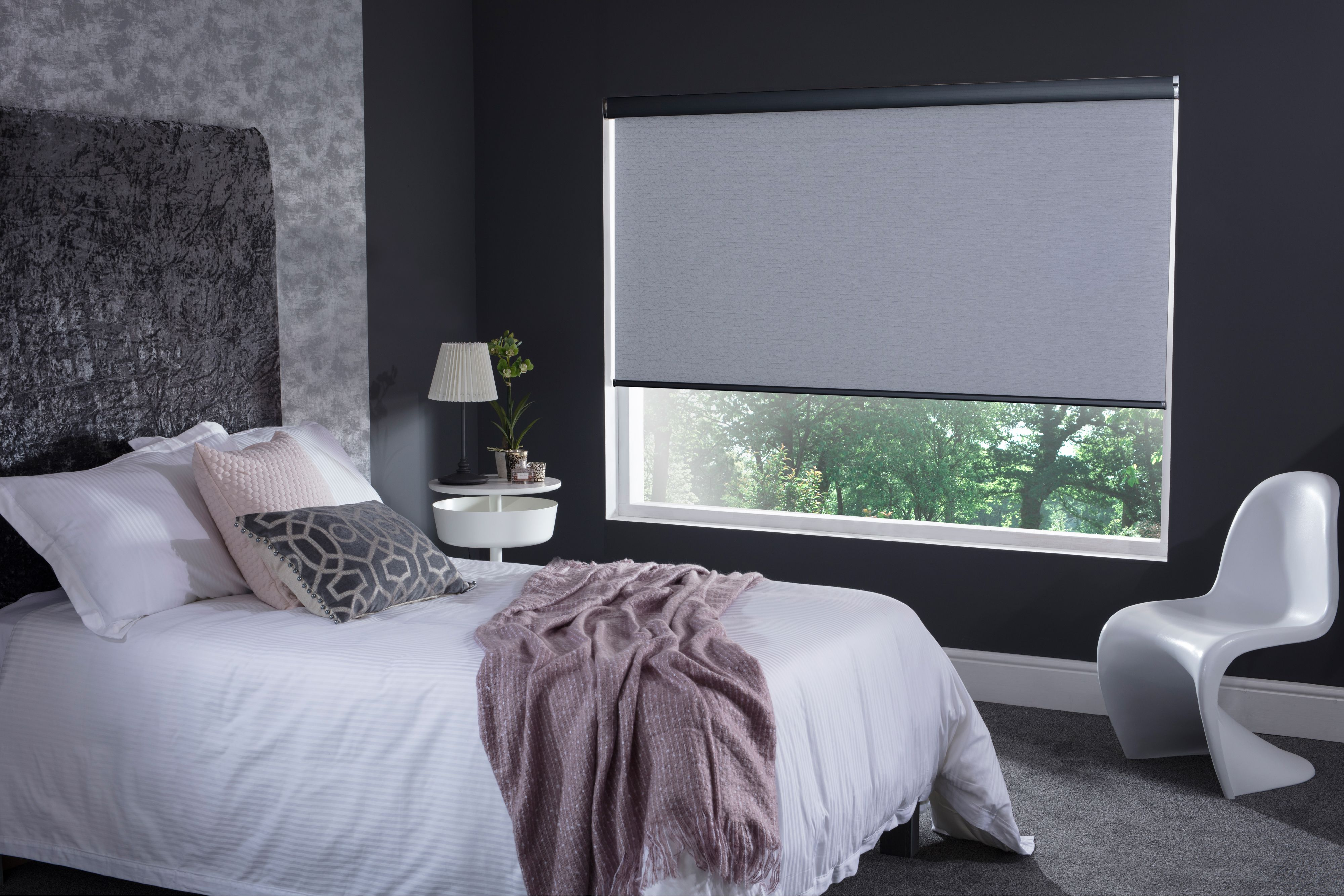 Polygon roller blinds from Style Studio. Grey blinds. Roller ...