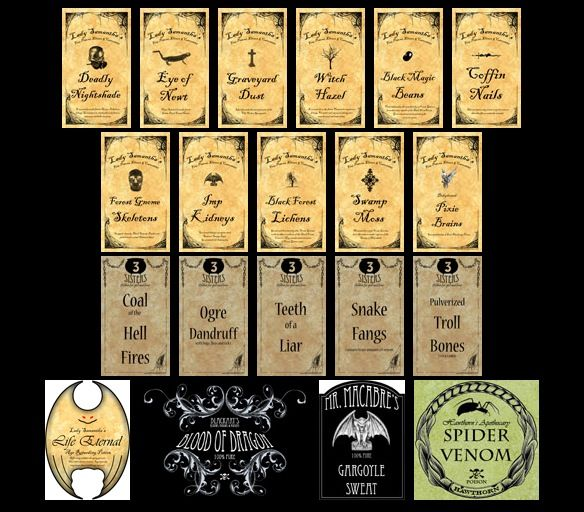 Image detail for -... has potion jar and bottle labels free to print for personal use