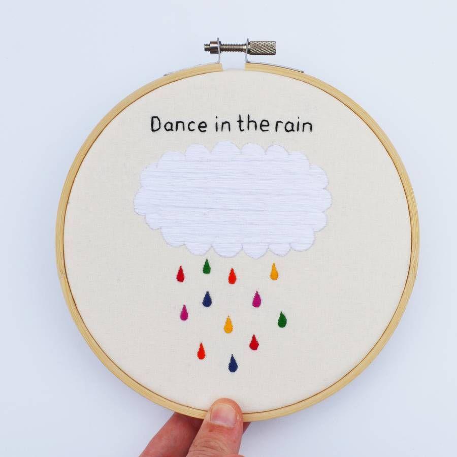 'Dance In The Rain' Hand Embroidery Hoop Art