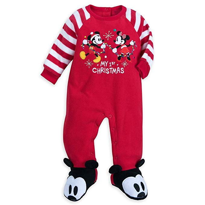 58303d5e9689 Disney Store Mickey Minnie My First Christmas Baby Boy Girl Footed ...