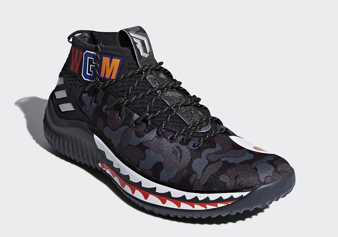 BAPE x adidas Dame 4 Detailed Look AP9974 + AP9975 Detailed Look   SneakerNews.com   Adidas dame. Sneakers. Socks sneakers