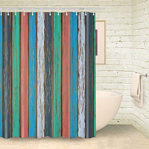 Foog Shower Curtain Colorful Vinatge Stripe Wood Shower C Https
