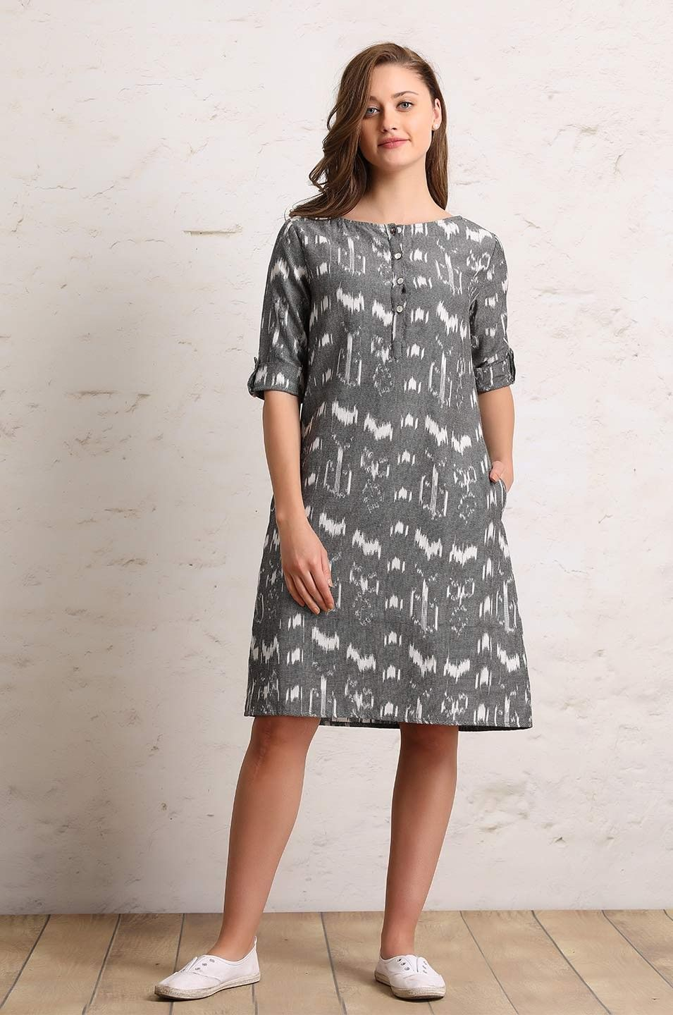 3e4d1aa92c Straight short dress with buttoned sleeves   Dresses   Dresses ...