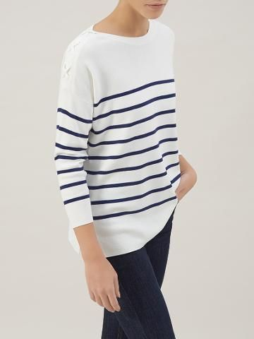 1c0a7c8966a Buy Hobbs Striped Riley Jumper, Ivory/Blue | John Lewis 79 ...