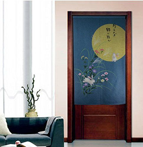 Japanese Style Noren Curtain The Bright Full Moon Chinese Peony