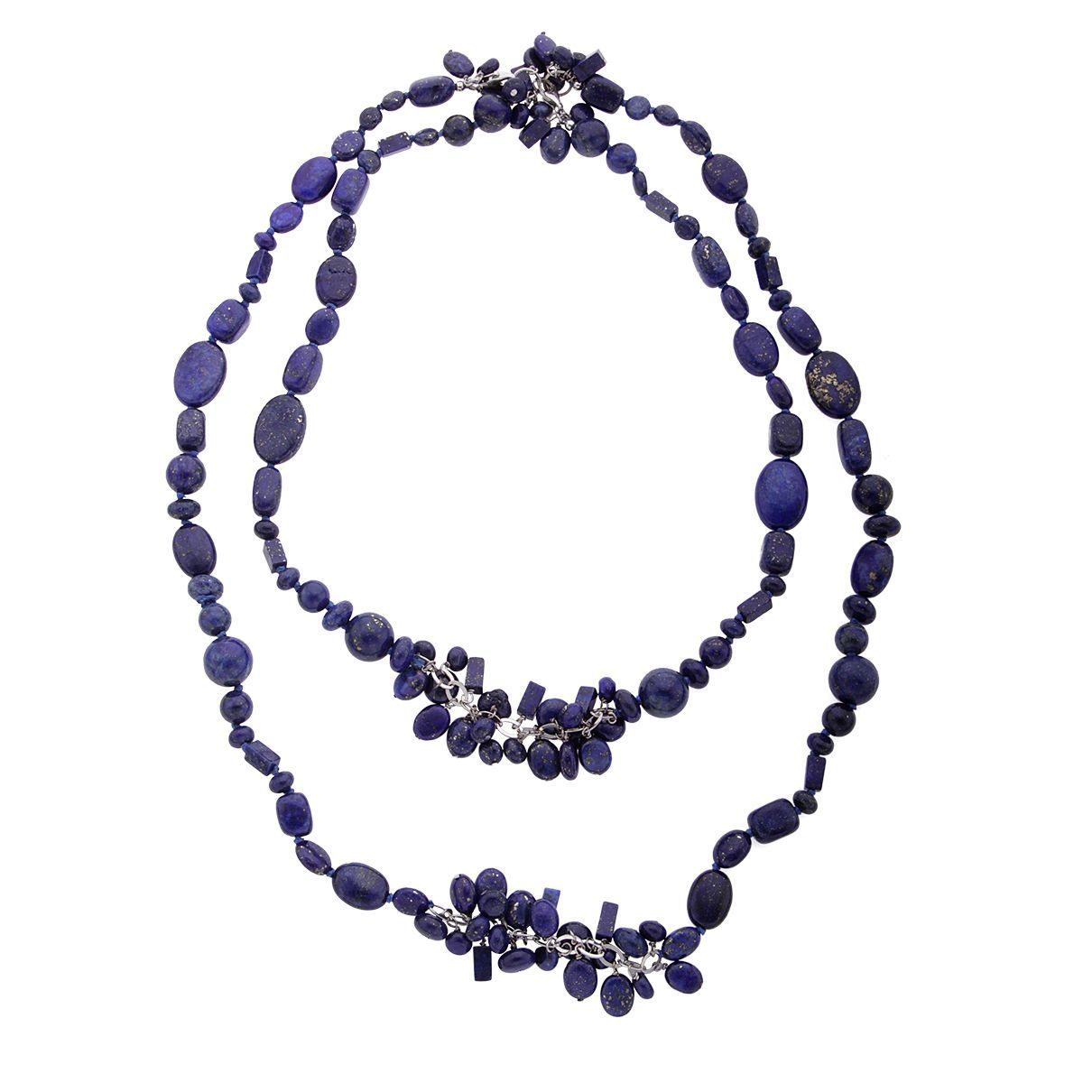 Sterling Silver Lapis Bead Convertible Necklace