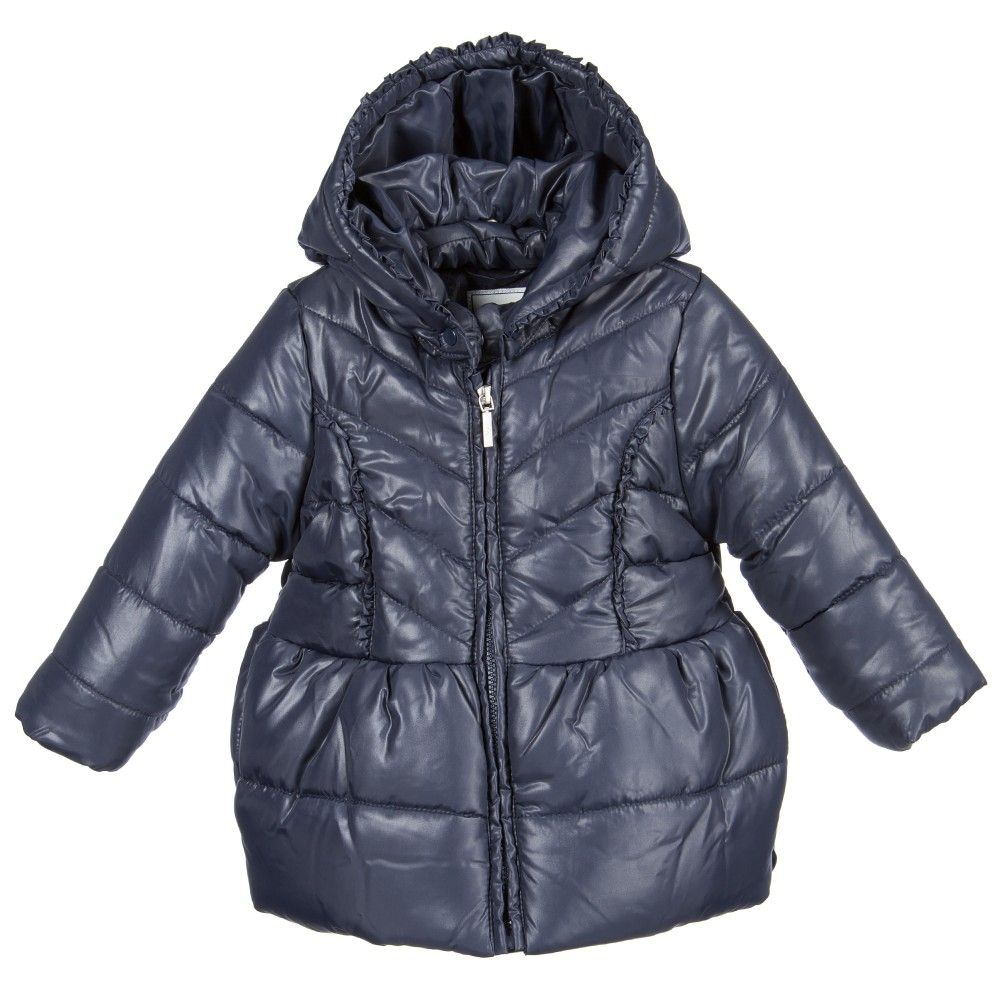 Baby Girls Navy Blue Padded Jacket with Hood, Mayoral, Girl ...