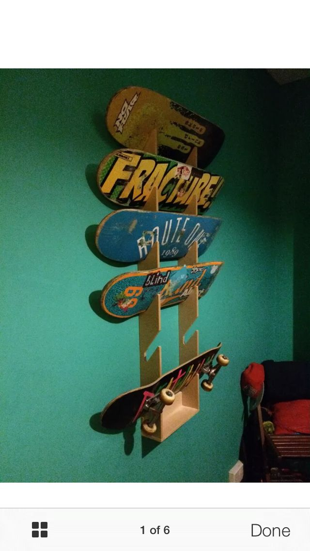 skateboard storage rack ebay for garage einrichten und wohnenholzbastelngarageneinrichtungkinderschlafzimmerskateboardsgartenhuser - Skateboard Regal Kinder Schlafzimmer