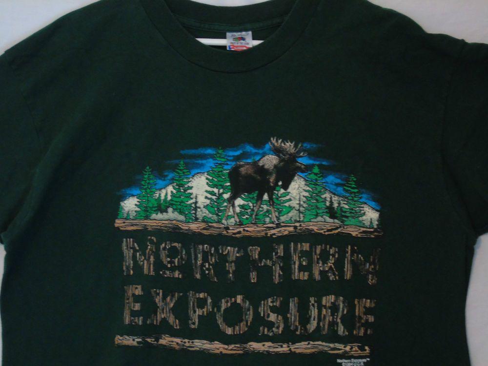 rare vtg 90s NORTHERN EXPOSURE t-shirt tv show XL moose logo Wood grain font #NorthernExposure #CultTV