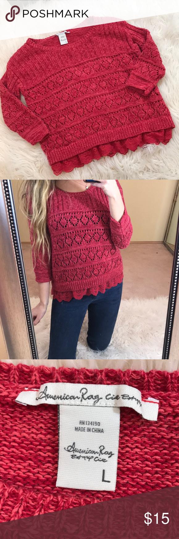 fad5c6e8e American Rag Lace Knit Sweater