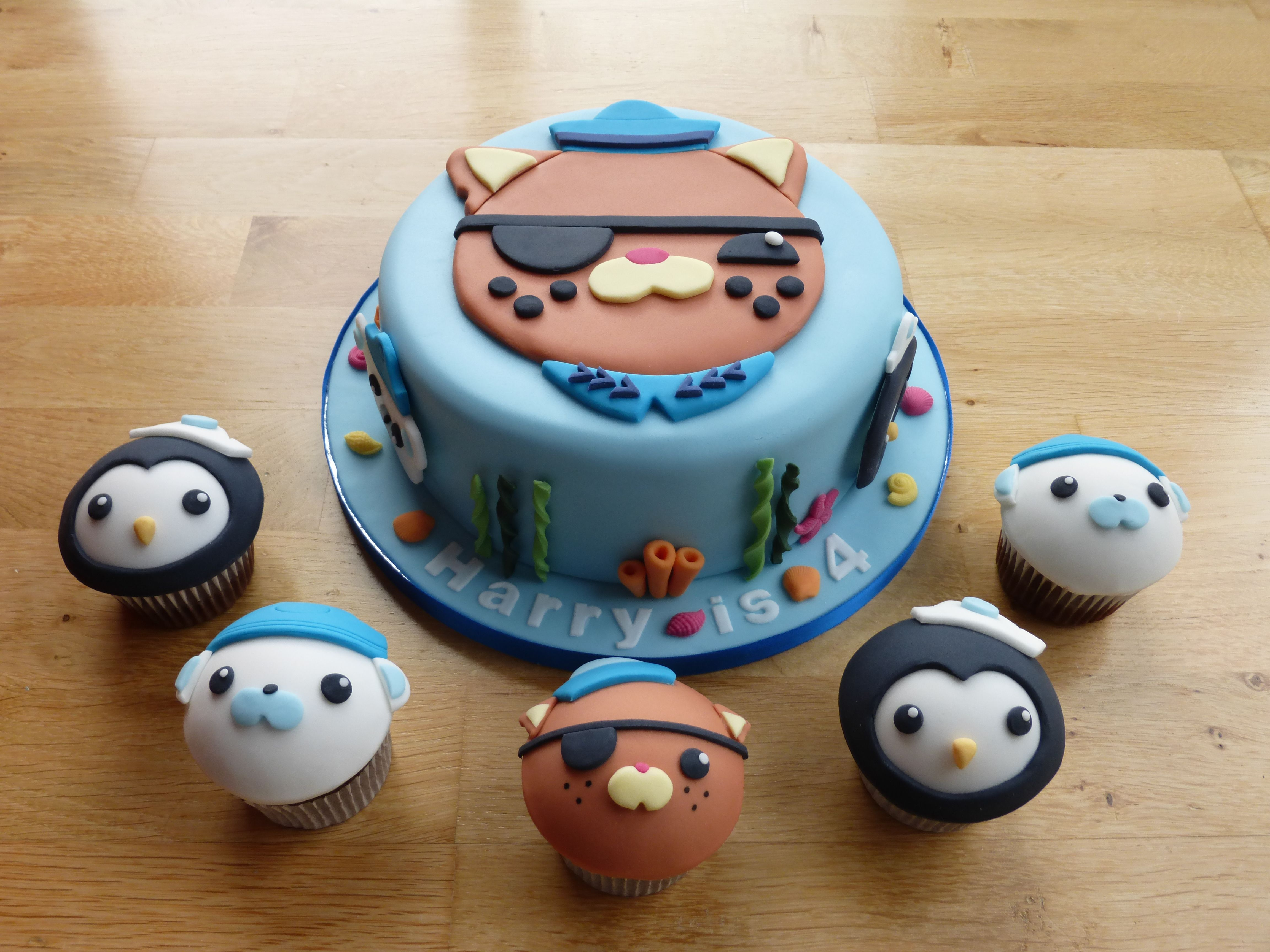 Kwazii Octonauts birthday cake and cupcakes Octonauts birtdhay