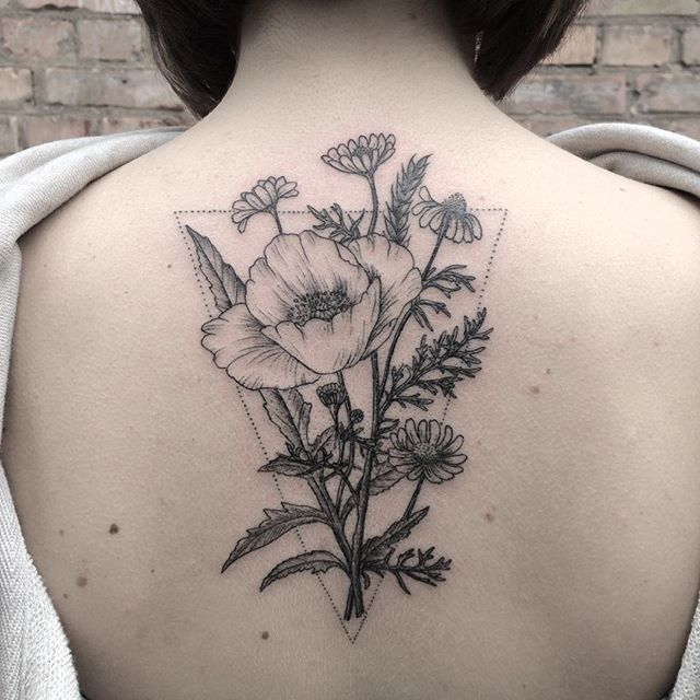 #poppy and #chamomile #planttattoo #linework #mary_tereshchenko #blacktattoomag #tattrx #inkstinctsubmission