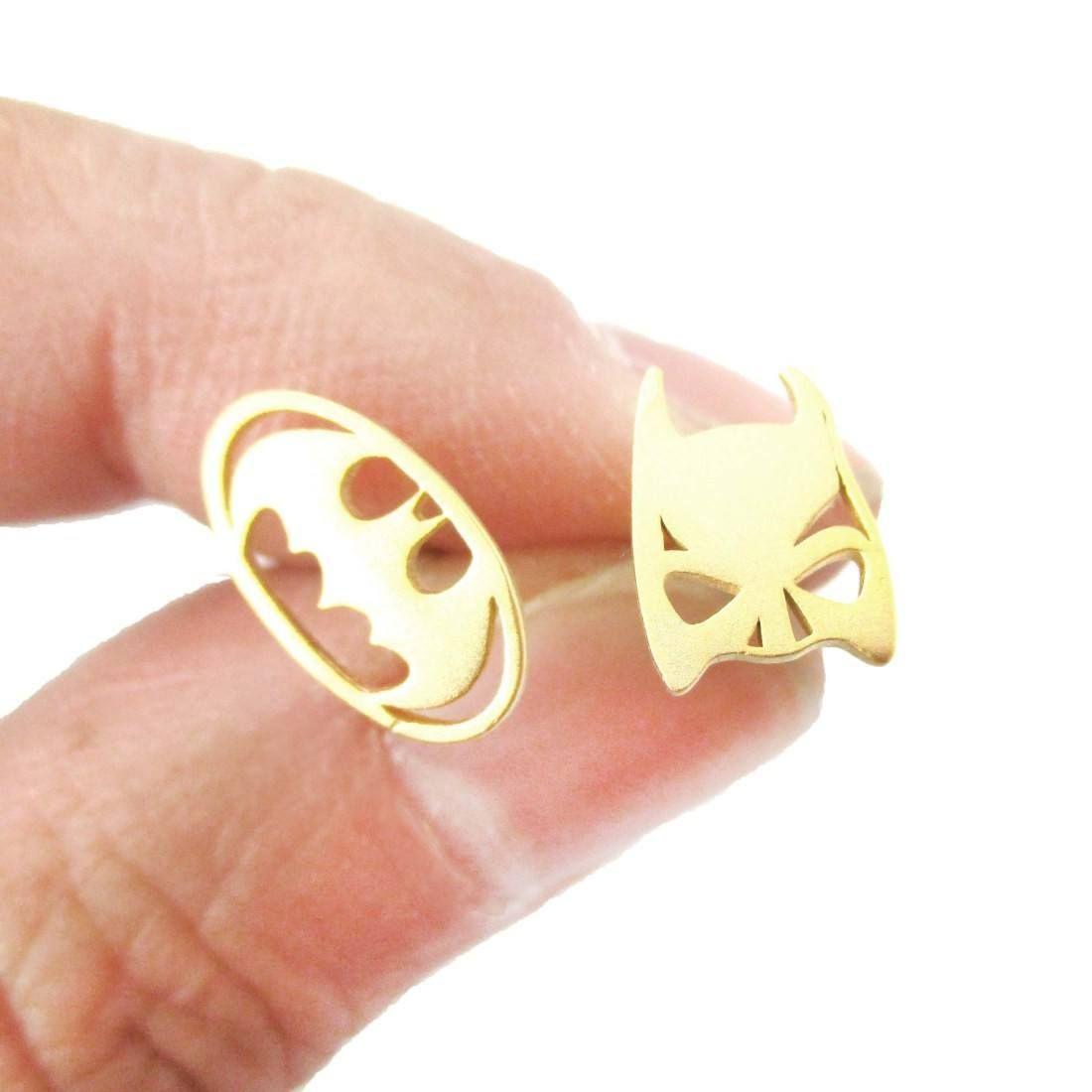 af009b966ecbd Batman Logo Symbol and Bat Mask Shaped Stud Earrings in Gold ...