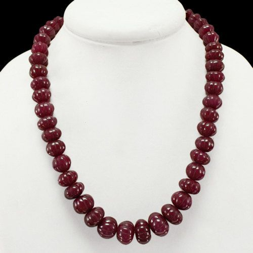 Red Ruby Necklace 611.50 Cts Carved Round Beads Genuine Real Beads Necklace
