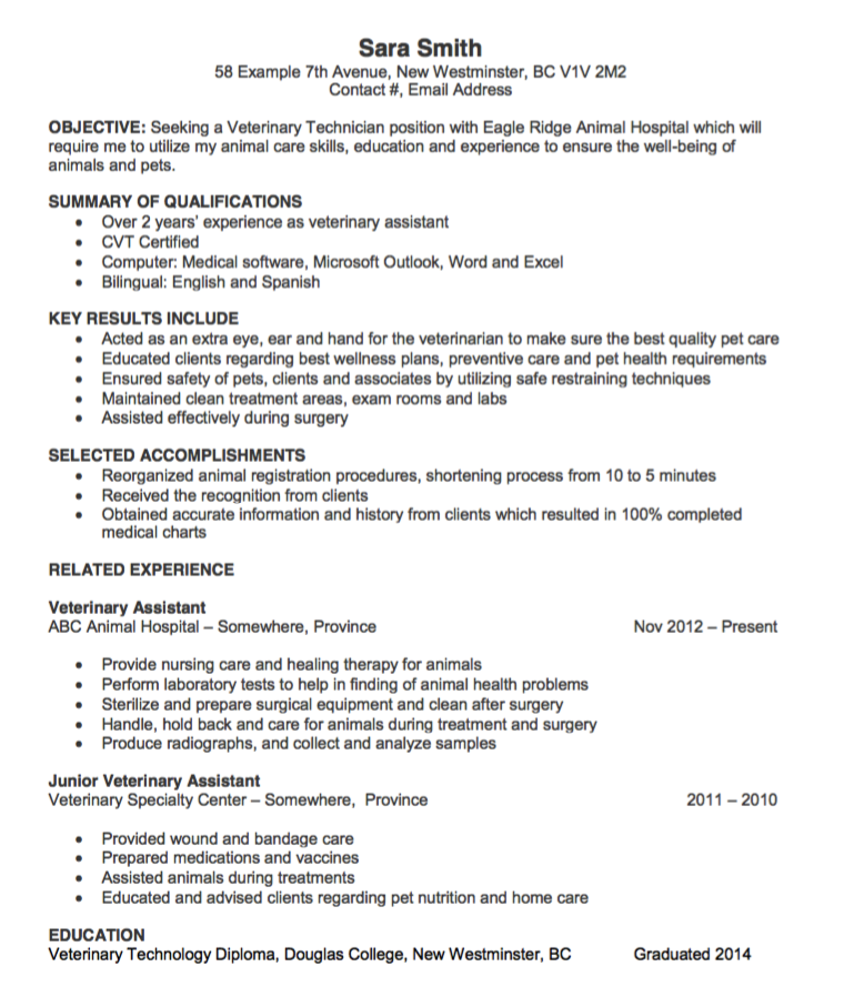 Vet Tech Resumes Vet Tech Resume School Jobs
