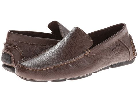Mens Shoes Calvin Klein Menton Med Brown Tumbled Leather