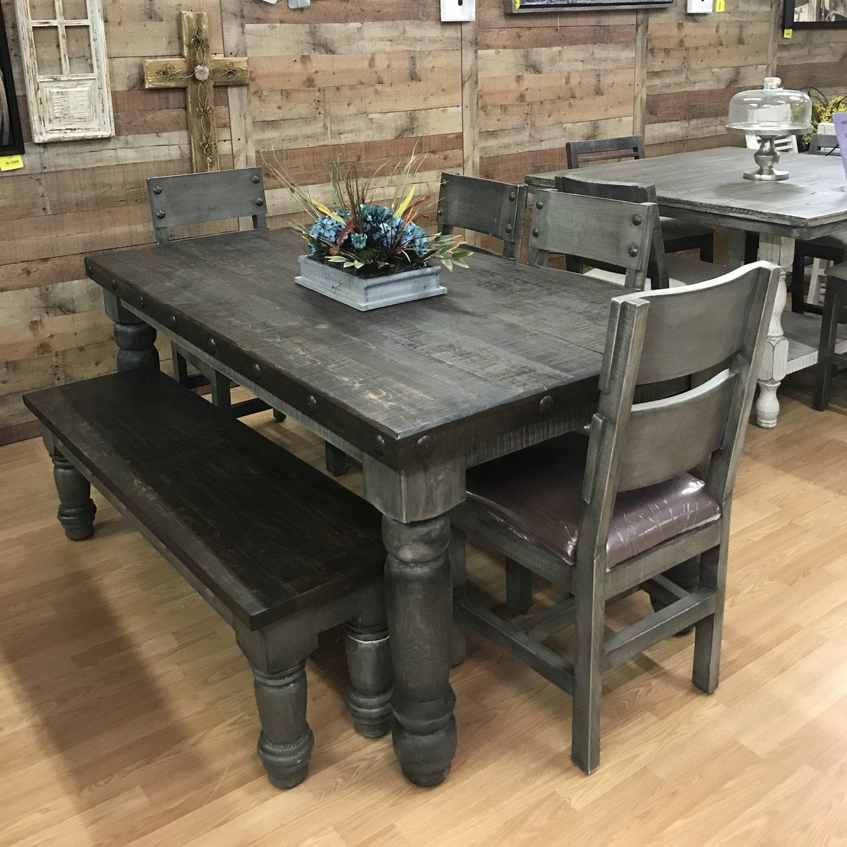 Weathered Farmhouse Table in 2020 Rustic kitchen tables