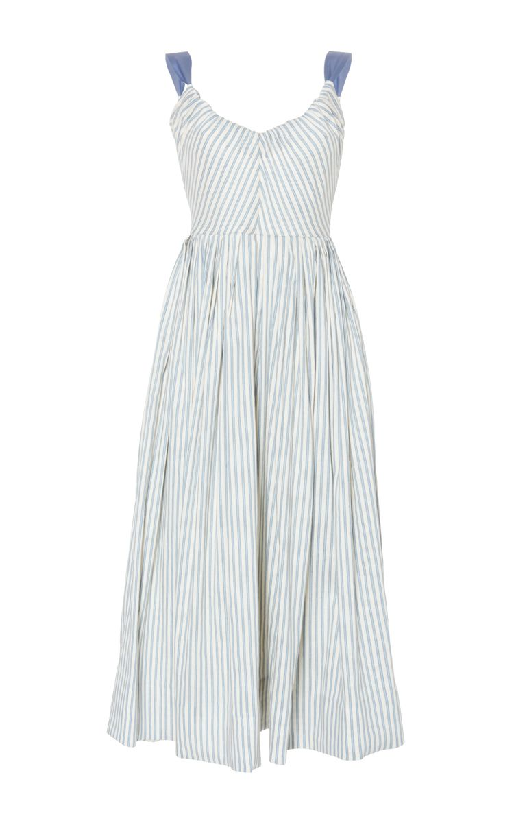 Linen Stretch Stripes Ribbon Dress by LUISA BECCARIA for Preorder on Moda Operandi