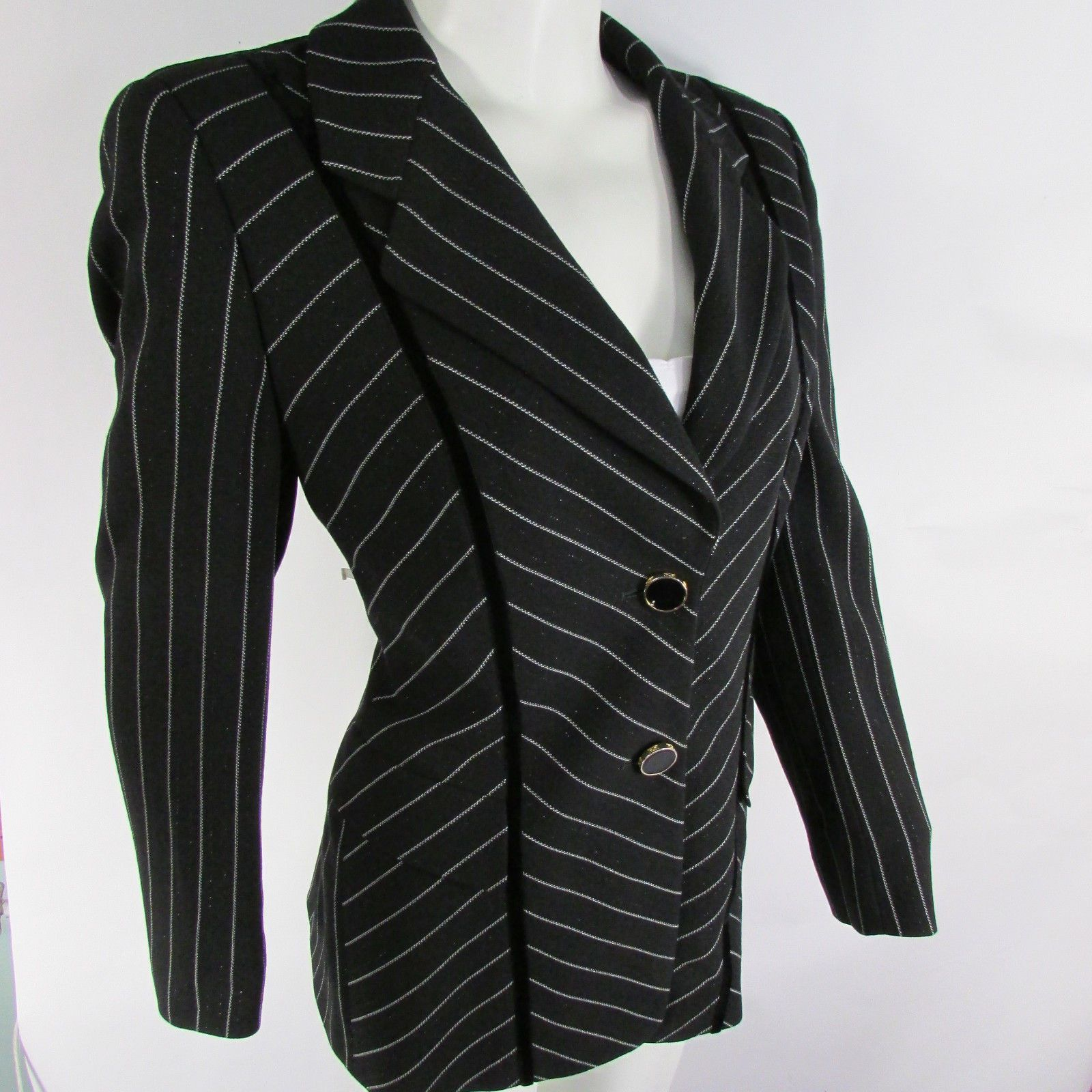 Black Suit Jacket White Stripes Wool Pants Skirt Evening Escada ...