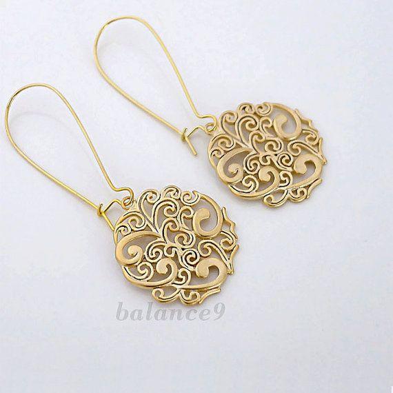 Gift for Women-Dangle Earrings-Wedding Gift-Modern-Gift for Her-Boho-Bronze Earrings Gold Square Bronze Earring-Handmade-Drop Earrings