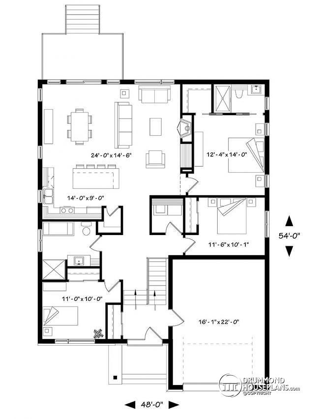 Discover The Plan 3281 Cjg Urbania 2 Which Will Please You For Its 3 Bedrooms And For Its Contemporary Styles House Plans Garage House Plans Split Level House Plans
