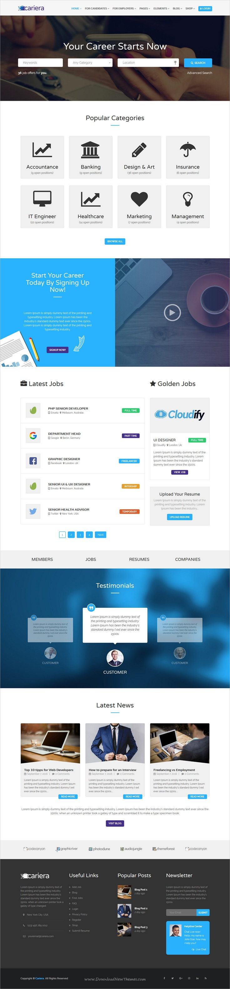 cariera - job board html template free download  Cariera is a clean and professional 3in1 responsive HTML #bootstrap ...