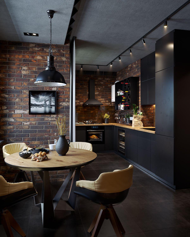 Cette cuisine avec coin repas dans un loft est cel