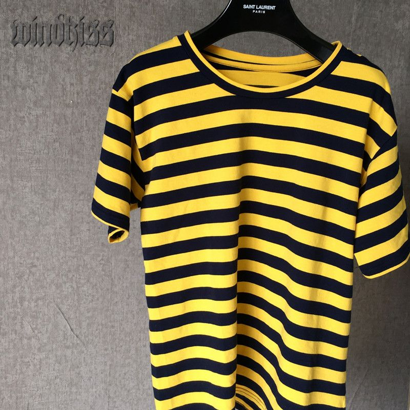 2016 new fashion yellow and black striped top short sleeve t-shirt ...