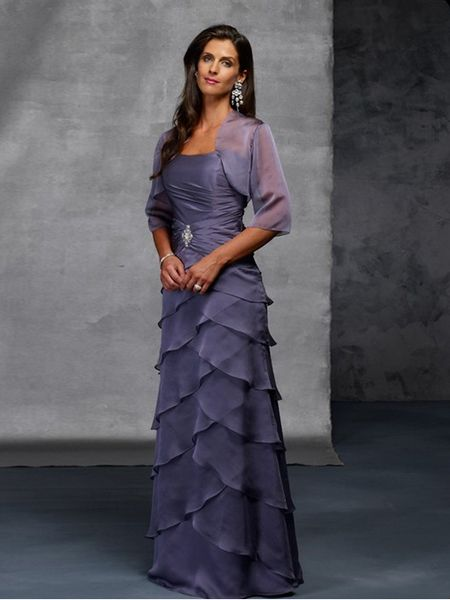 Glamorous Strapless Flat Ruched Beading Tiered With Wrap A Line Mother Bride Gown Cmbd 014 Online