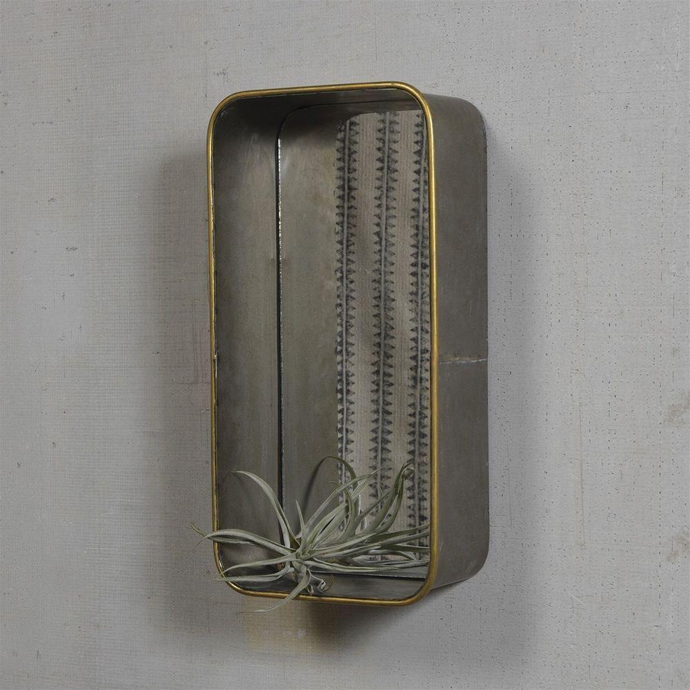 Galvanized Metal Mirror Wall Shelves Unique Gold Rim