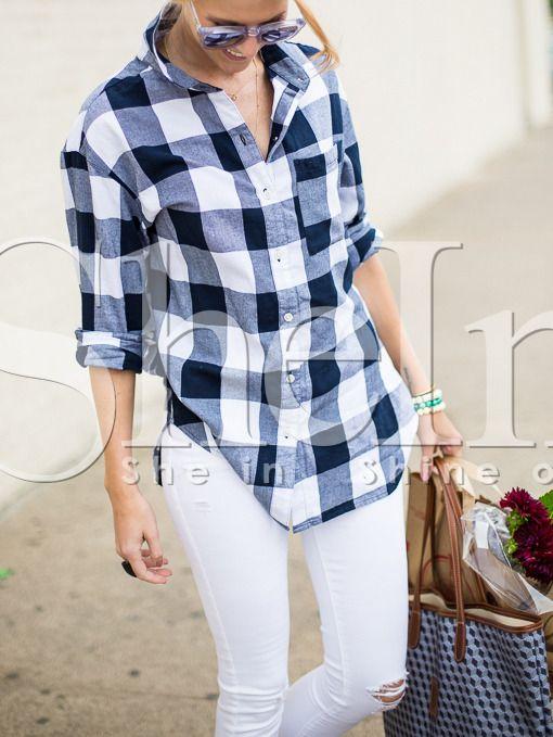 Blusa manga larga solapa cuadros -blanco azul-Spanish SheIn(Sheinside) 7df0f8f1167