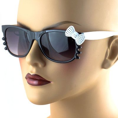 White Kitty Womens Sunglasses Rhinestone Bow Fun Cute Eyewear Black New IG9318NM
