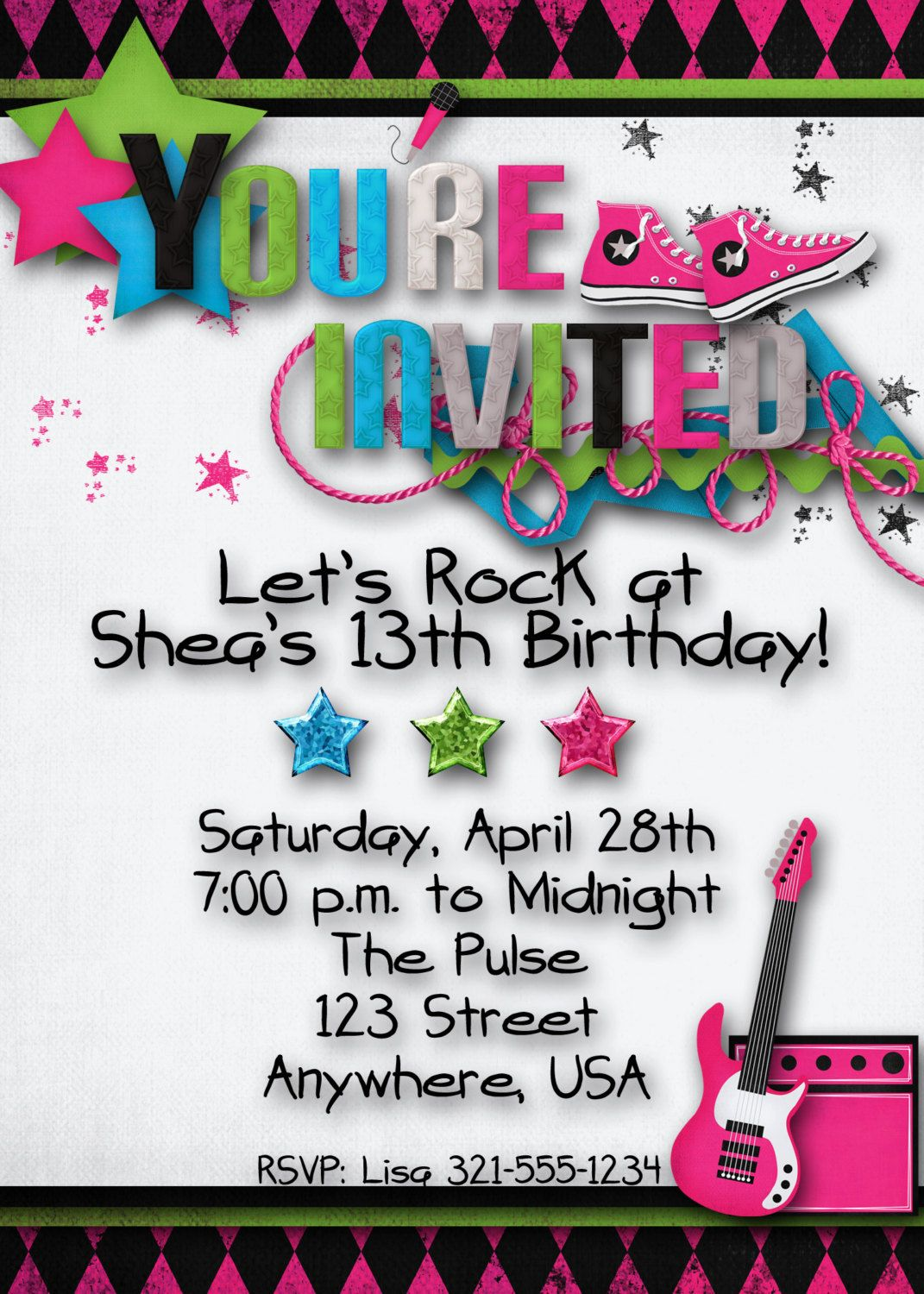 Rock Star Birthday Party Invitation Girl Teen