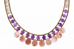 "Stunning Hand Beaded 925 Sterling Silver Necklace by Ziio. Named ""Pink May"", the multi-colored Murano Glass beads show case Purple Amethyst Gemstones, Silver Beards and Pink/Purple Agate Beads. Nine Tear Drops of Pink Mother-of-Pearl adorn the front. treborstyle.com"