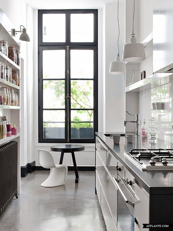 modern white kitchen, heavy black framed window, contemporary ...