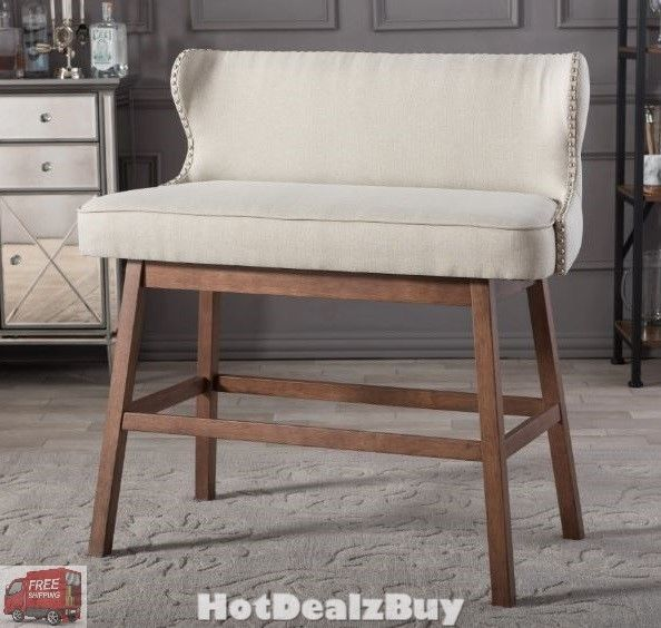 Modern 30 Bar Height Bench Stool Wood Fabric Kitchen High Chair Armless Seat Baxtonstudio Traditionalmodern Upholstered Bench Bar Bench Dining Bench