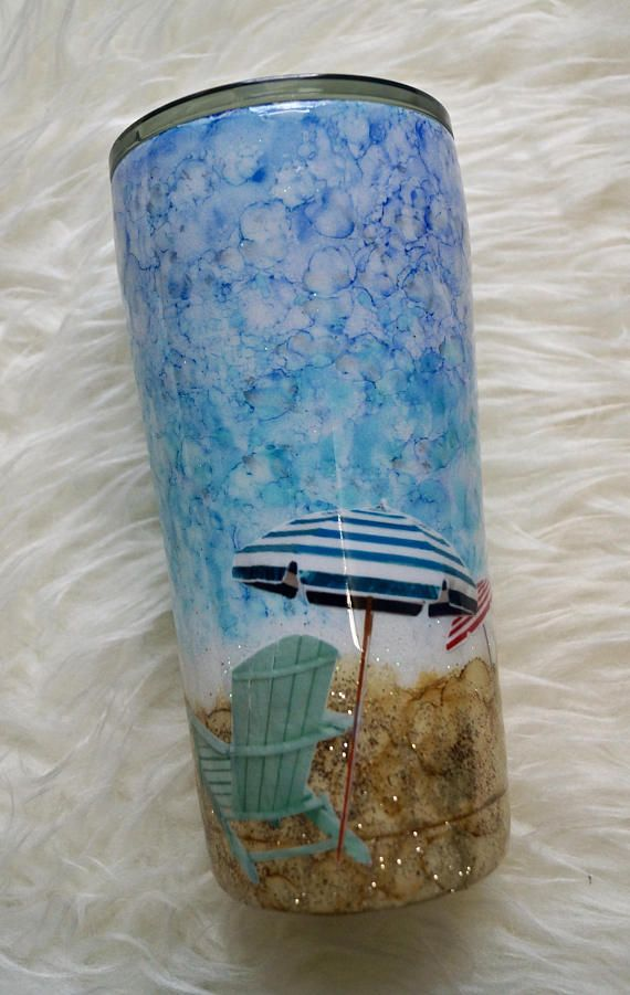 Glitter And Alcohol Ink Beach Tumbler Cup With Vinyl 20oz 30oz Ozark Trail Yeti Custom Personalized