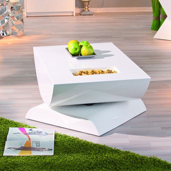 half moon high gloss swivel coffee table in white | kitchen