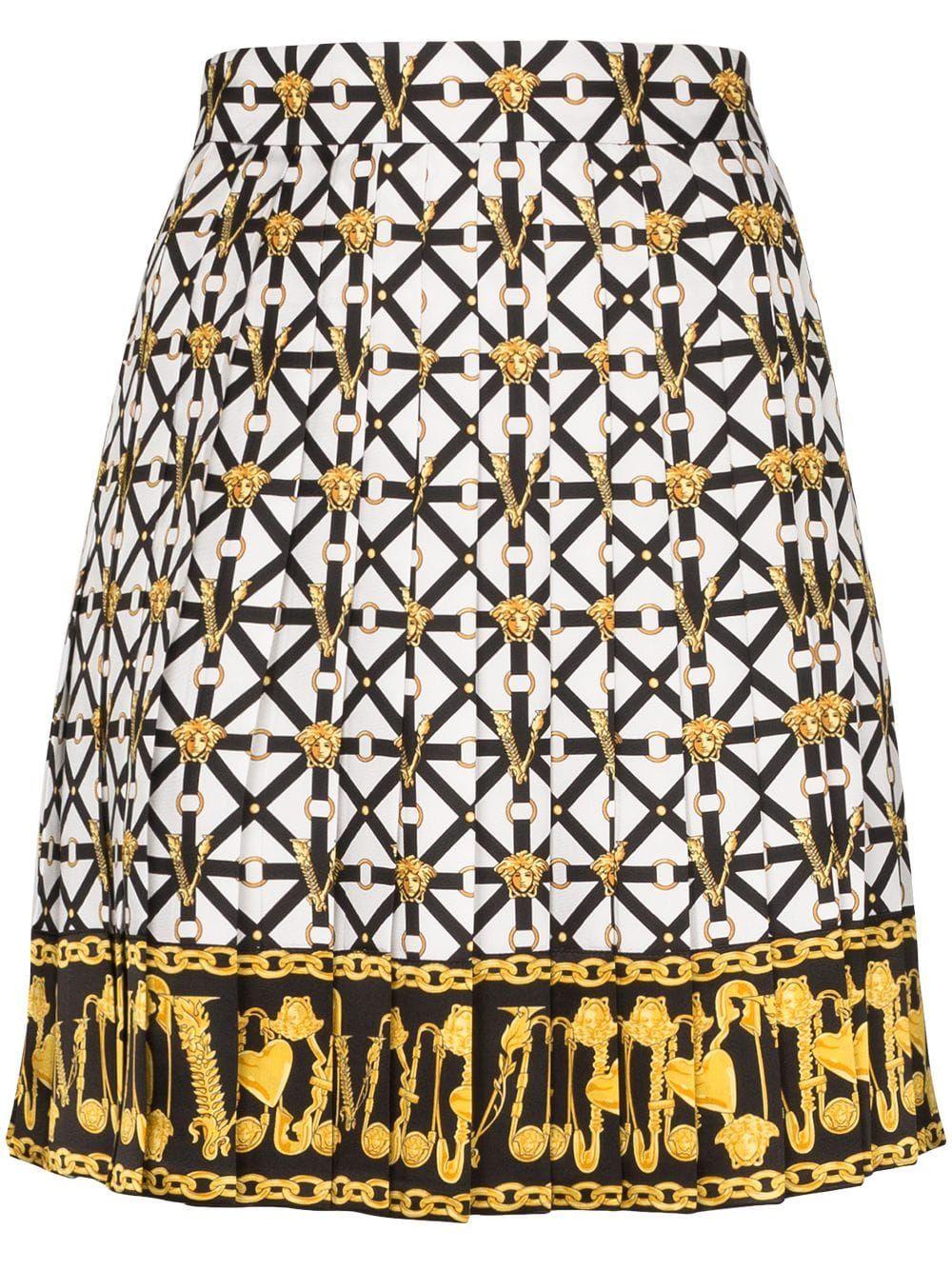 Versace Medusa Printed Pleated Mini Skirt White Mini Skirts Pleated Mini Skirt Velvet Mini Skirt