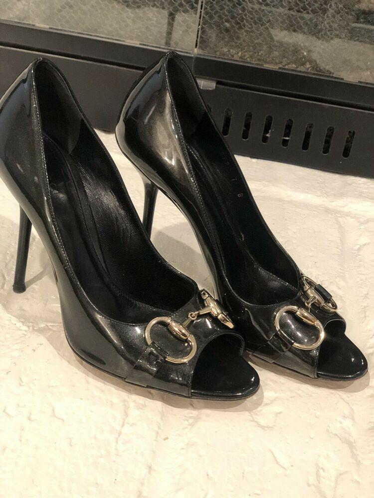 cc968af5f04 Gucci Black Patent Leather Horsebit Peep Toe Pumps Shoes Size 7  fashion   clothing  shoes  accessories  womensshoes  heels (ebay link)