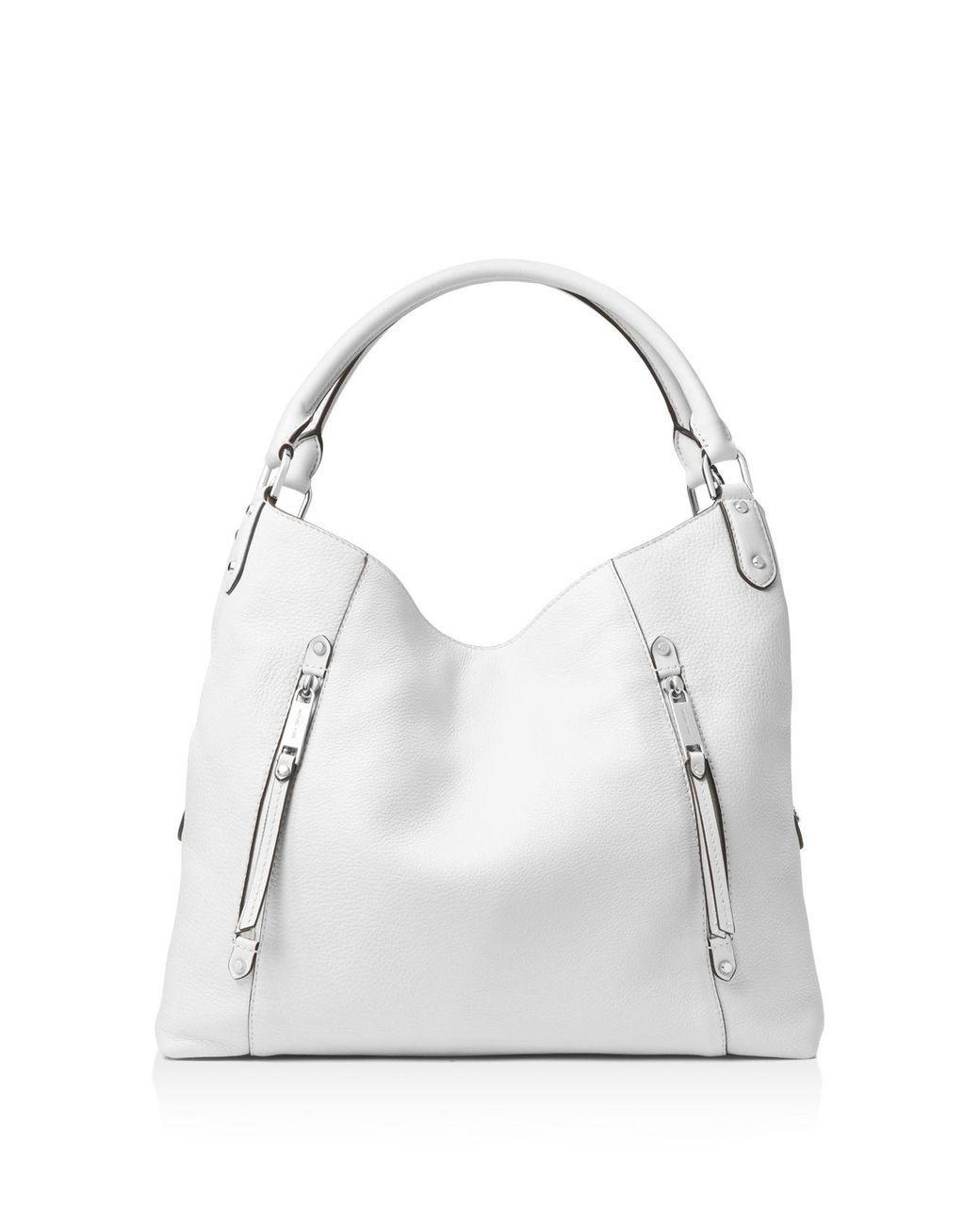 0a9ec4e51595 MICHAEL Michael Kors - White Evie Large Leather Shoulder Tote - Lyst ...