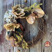 "Photo of 16 ""to 26"" magnolia, fig and pine cone farm wreath. Magnolia wreath / winter wreath / front door …"