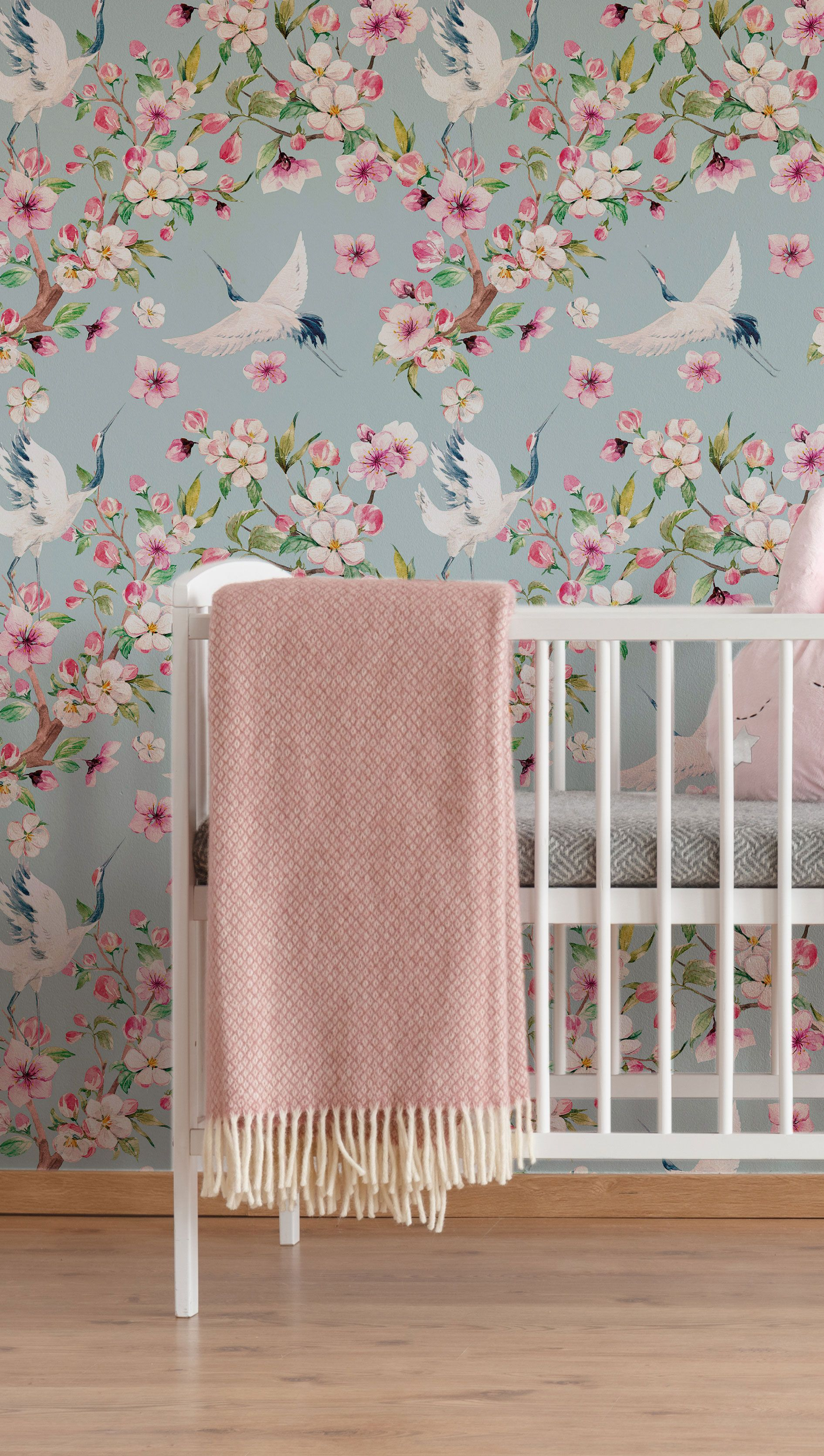 Blue Japanese Animal Peel And Stick Fabric Removable Wallpaper 7588 Nursery Decor Girl Removable Wallpaper Blue Backdrops