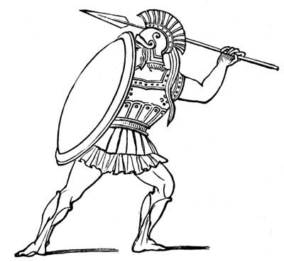 drawing of a spartan in a fighting position | Greek ...