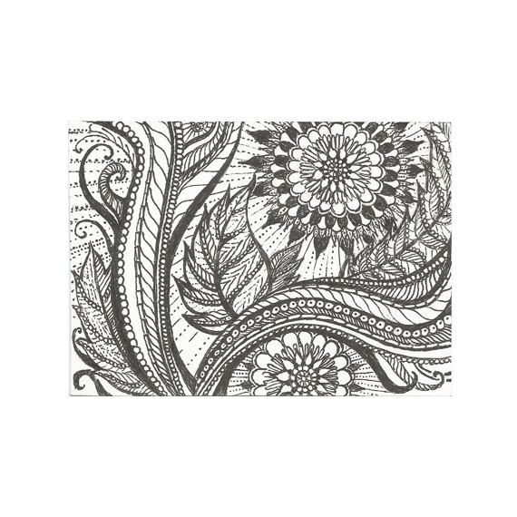 aceo ink drawing art print title flower sun medium black gel ink pen on - Coloring Book Paper Type