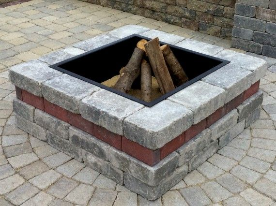 Brussels Dimensional Fire Pit And Wall Photos Square Fire Pit Fire Pit With Rocks Rustic Fire Pits